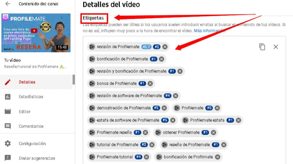 Etiquetas o palabras clave en YouTube