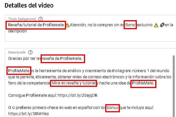 Palabras clave en el título y descripción de tu video en YouTube
